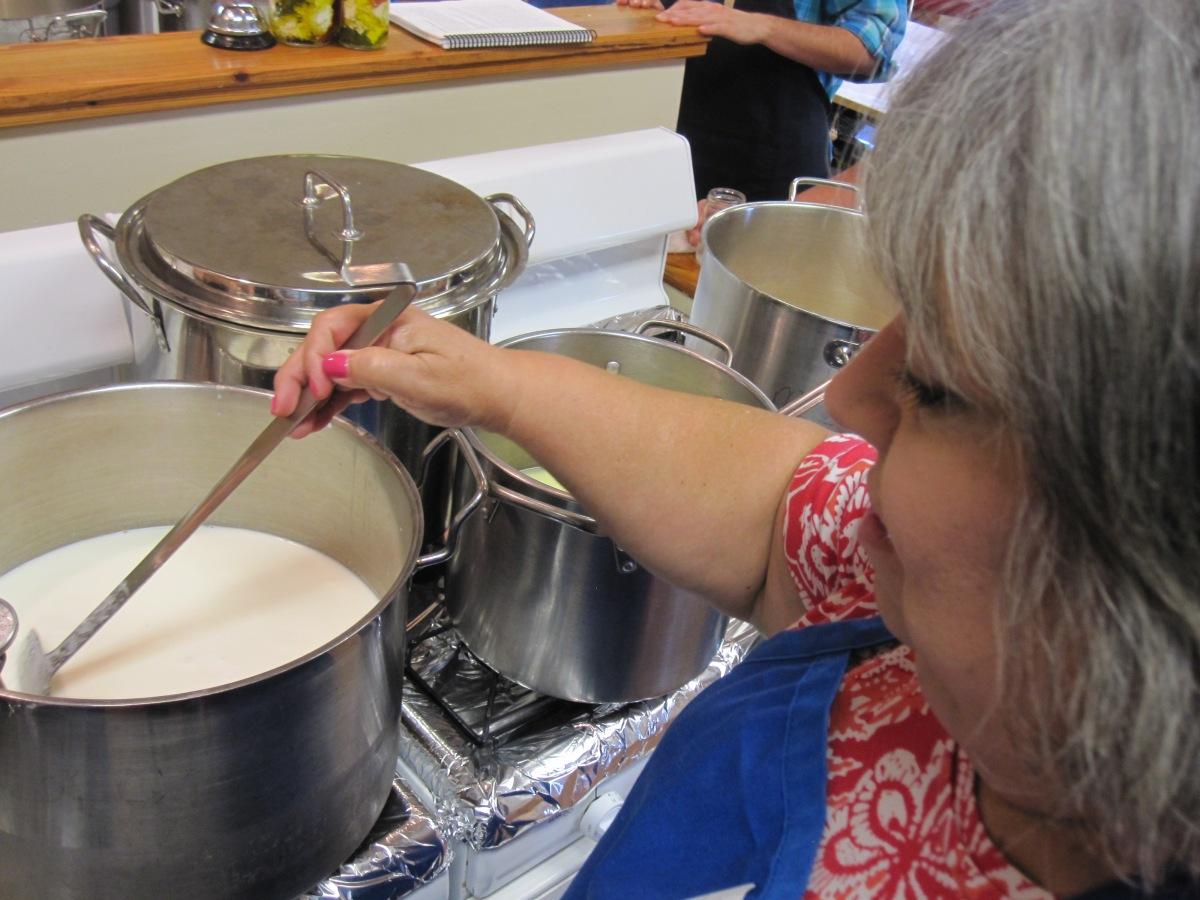 Stirring mozzarella