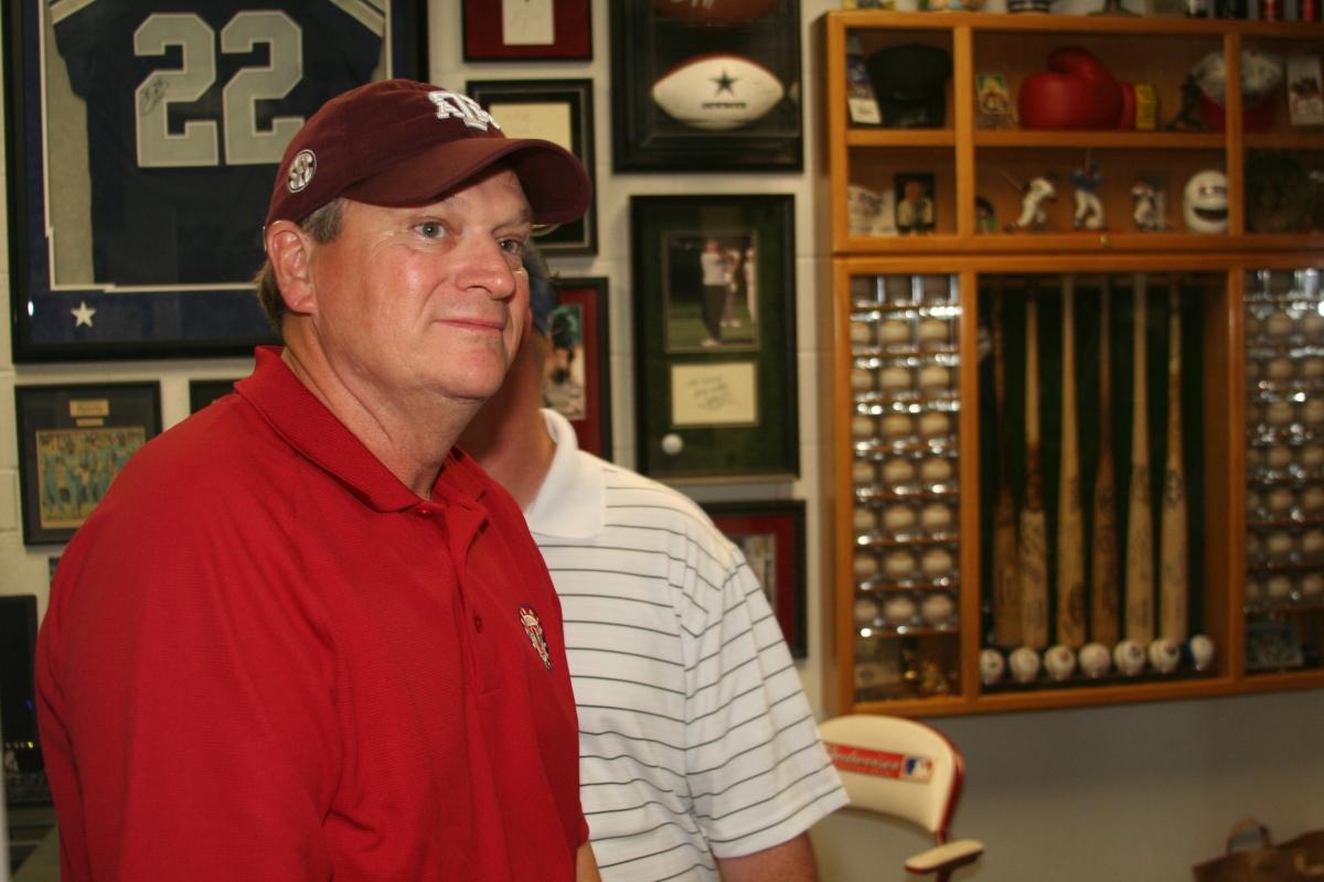 Ray taking in the memorabilia room