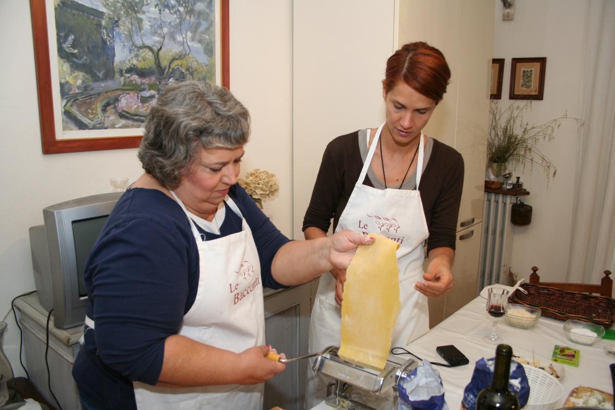 Jackie and Mari making pasta