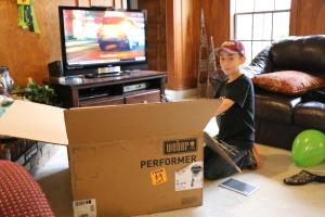 Jackson opening the box