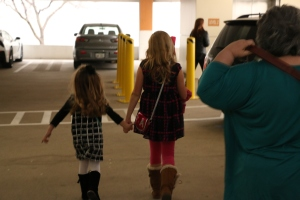 Lauren and Avery walking to the store